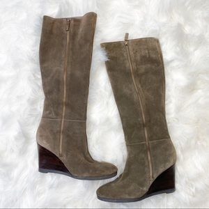 Franco Sarto Tall Suede Wedge Heel Side Zip Boots